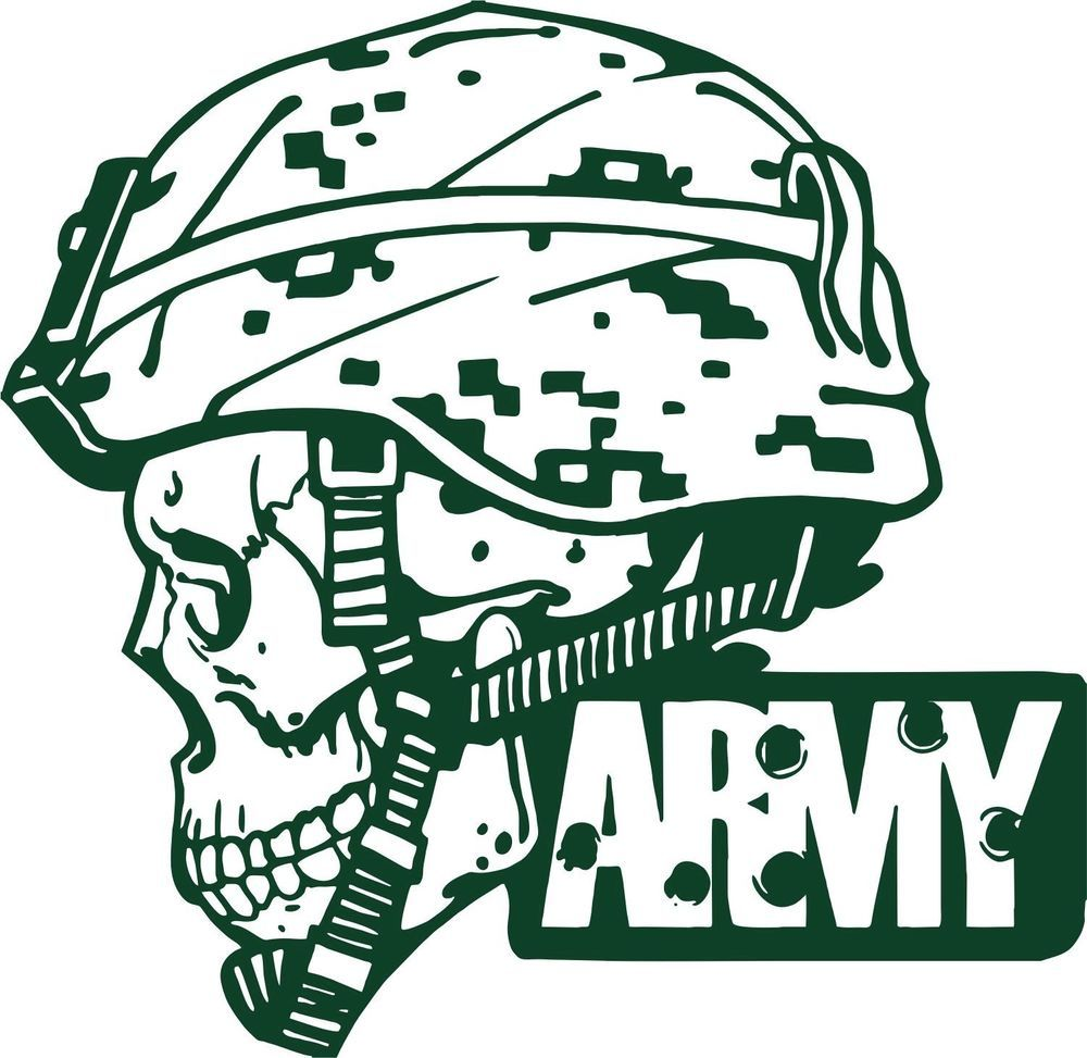 Army Military Police Soldier Skull Camo Car Truck Window Vinyl - Camo custom vinyl decals for trucks
