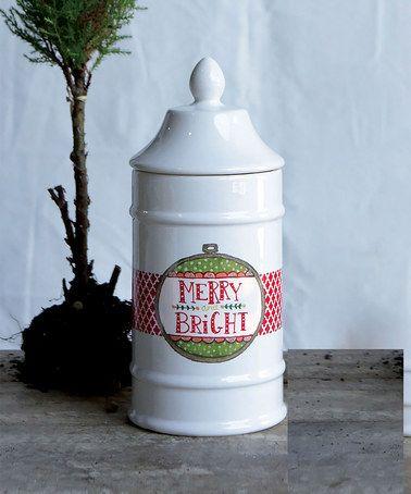 Loving this 'Merry & Bright' Ceramic Jar & Lid on #zulily! #zulilyfinds