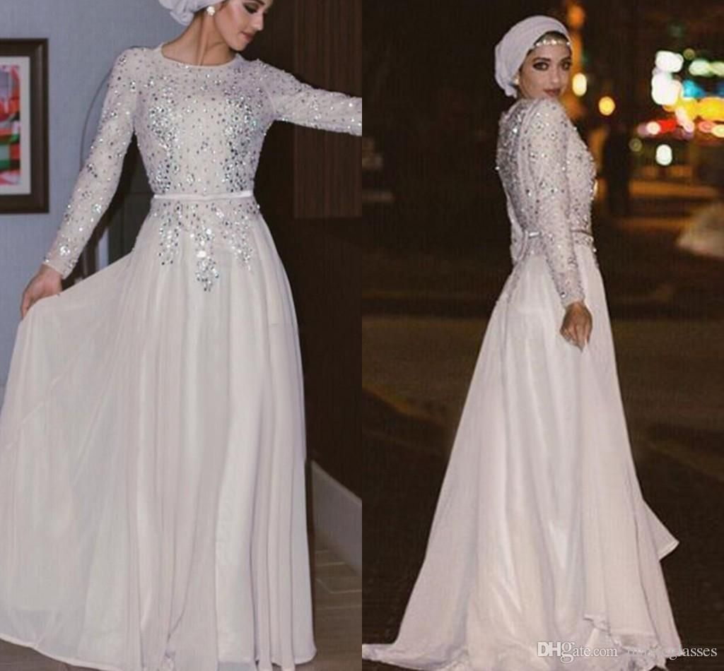 2bef011e2ff7 Sparkly Long Sleeves Muslim Evening Dresses Sequins Crystal Chiffon Floor  Length Silver White Prom Dresses Arabic Abaya Party Dresses