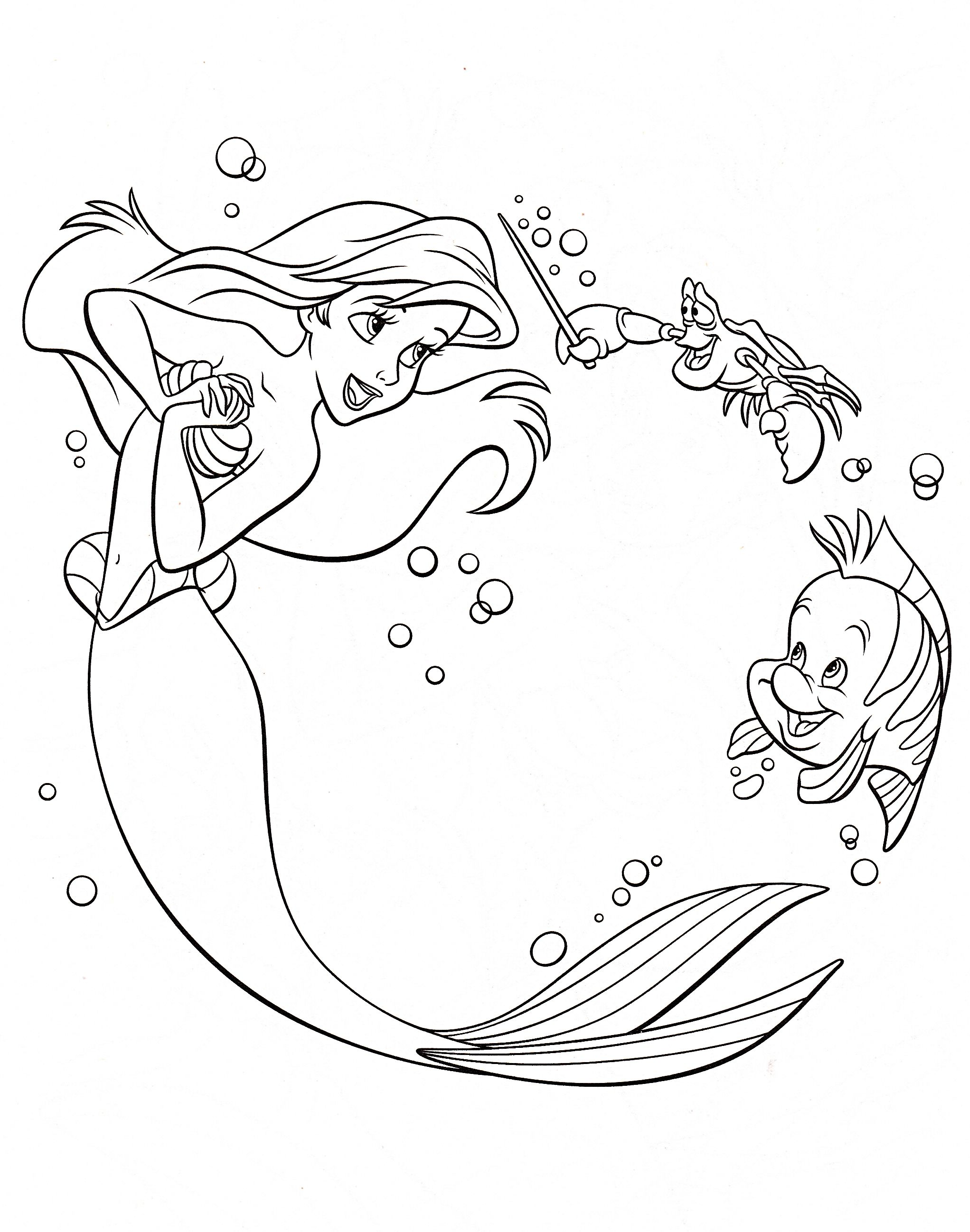 Photo of Walt Disney Coloring Pages - Princess Ariel, Sebastian ...