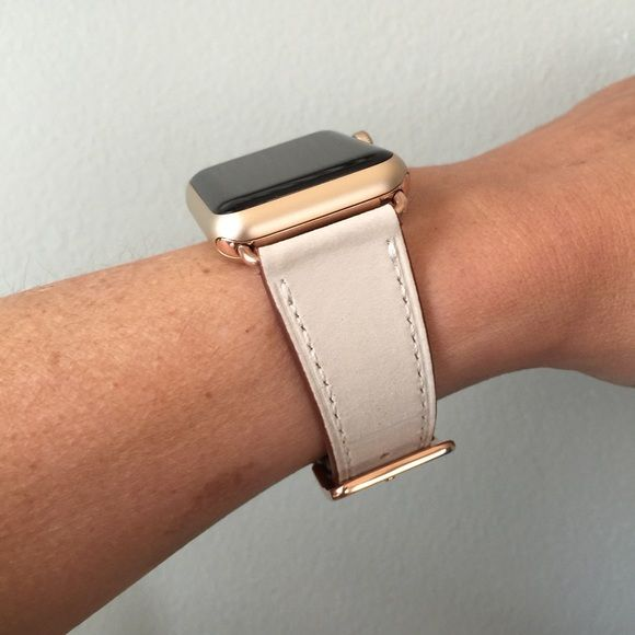 Rose Gold Ivory Leather Apple Watch Band Apple Watch Bands Leather Apple Watch Bands Women Apple Watch Fashion