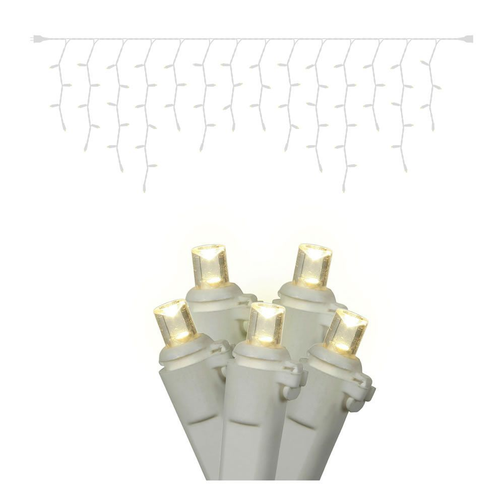 Vickerman 70 Warm White Twinkle Wide Angle LED Icicle Light on White ...