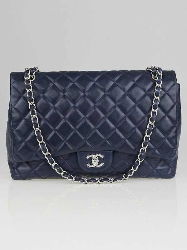 6fdcb7013e19 Chanel Navy Blue Quilted Lambskin Leather Classic Maxi Single Flap Bag -  Handbags - 10013161