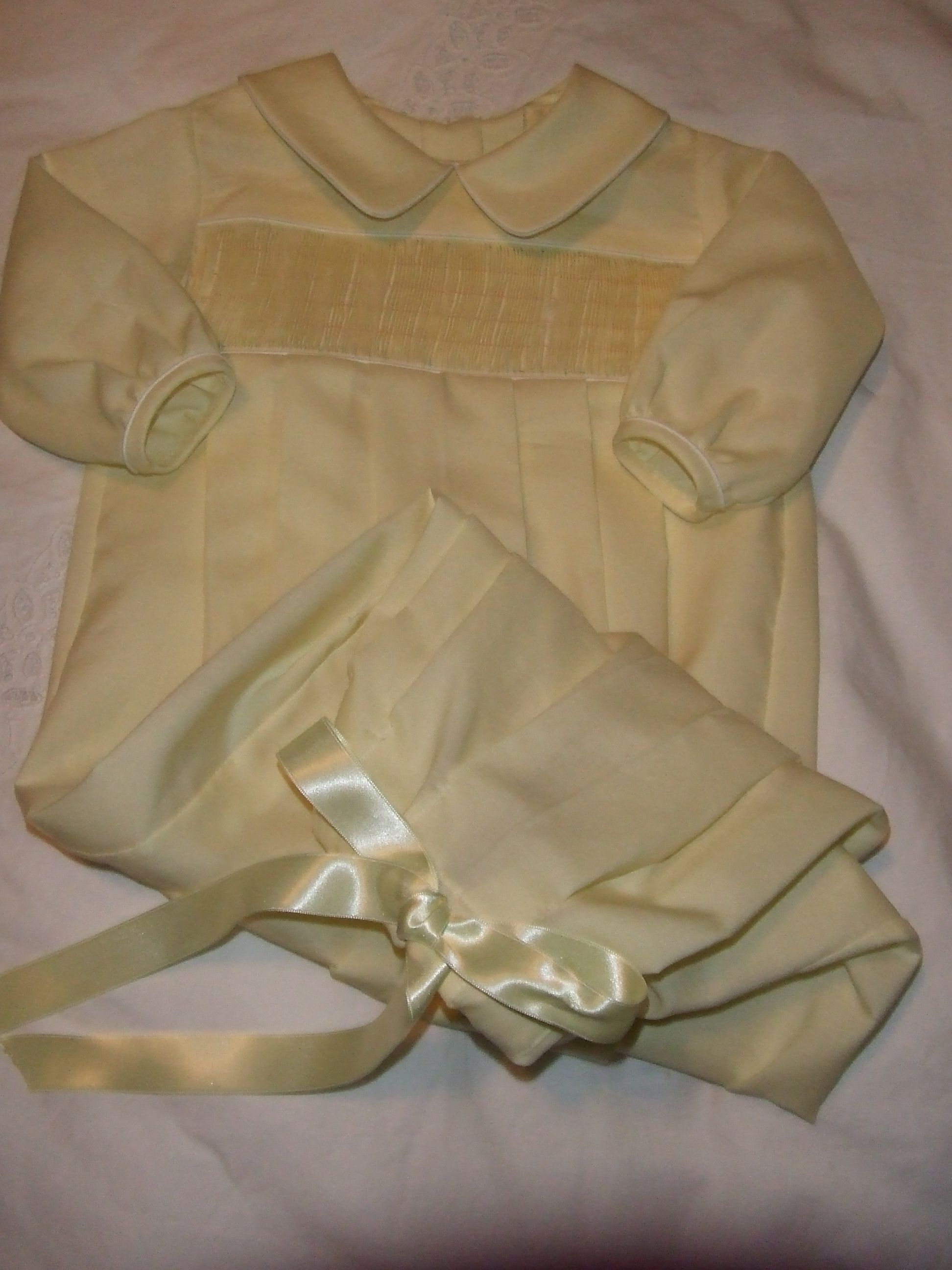 Yellow Lawn Drawstring Boy Gown Ready To Smock