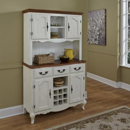 Home Styles Oak And Rubbed White French Countryside Buffet Hutch