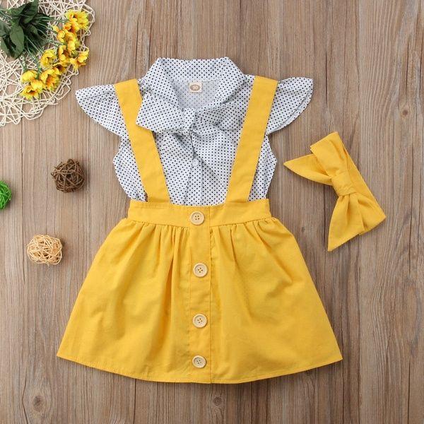 3PCS Infant Baby Kids Girls T-shirt Short Sleeve T-Tops+Suspender Skirt Overalls