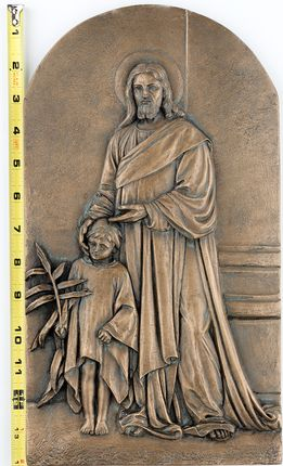 """Christ and the Child, 14x8"""" bronze relief"""