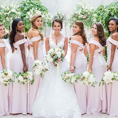 8f60f9b0fd Style 2987 by Dessy Group in Blush  kelly and logan photography Full length  off the shoulder crepe dress w  criss cross detail at open back.