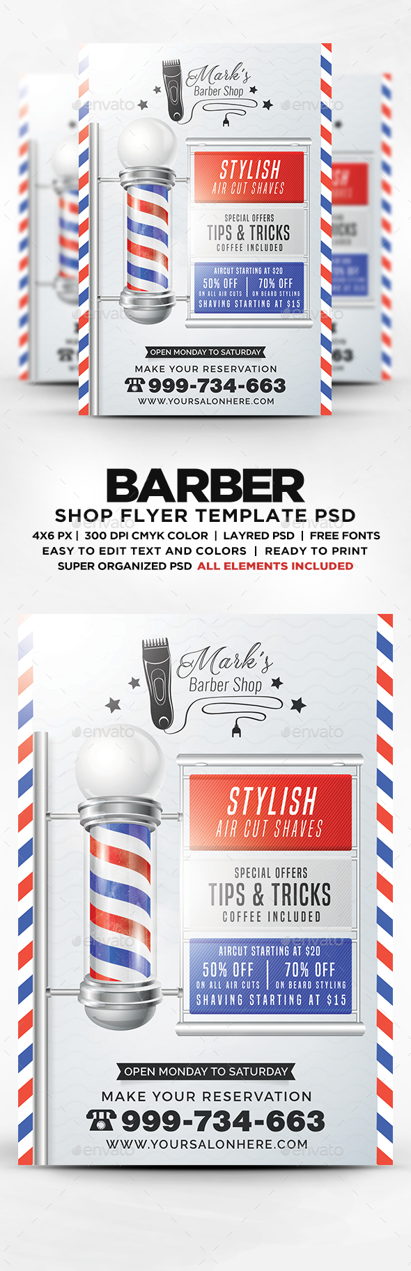 Barber Shop Flyer Template PSD. Download here: https://graphicriver ...