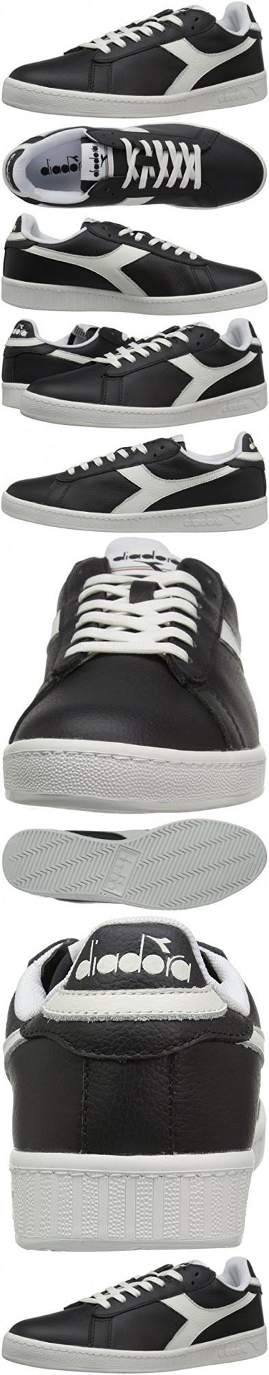 Diadora Men's Game L Low Waxed Court Shoe, BlackWhiteBlack