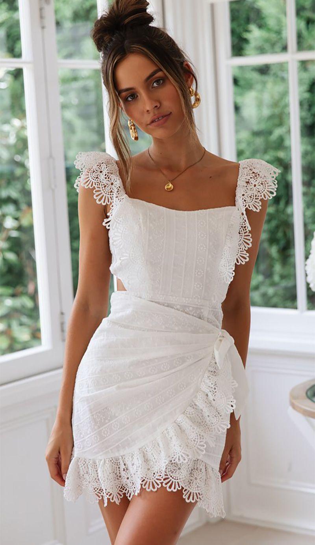 Summer Dress Bohemian Hollow Out Crochet Mini Beach Dress Kjselections Vestidos Vestido Branco Renda Moda