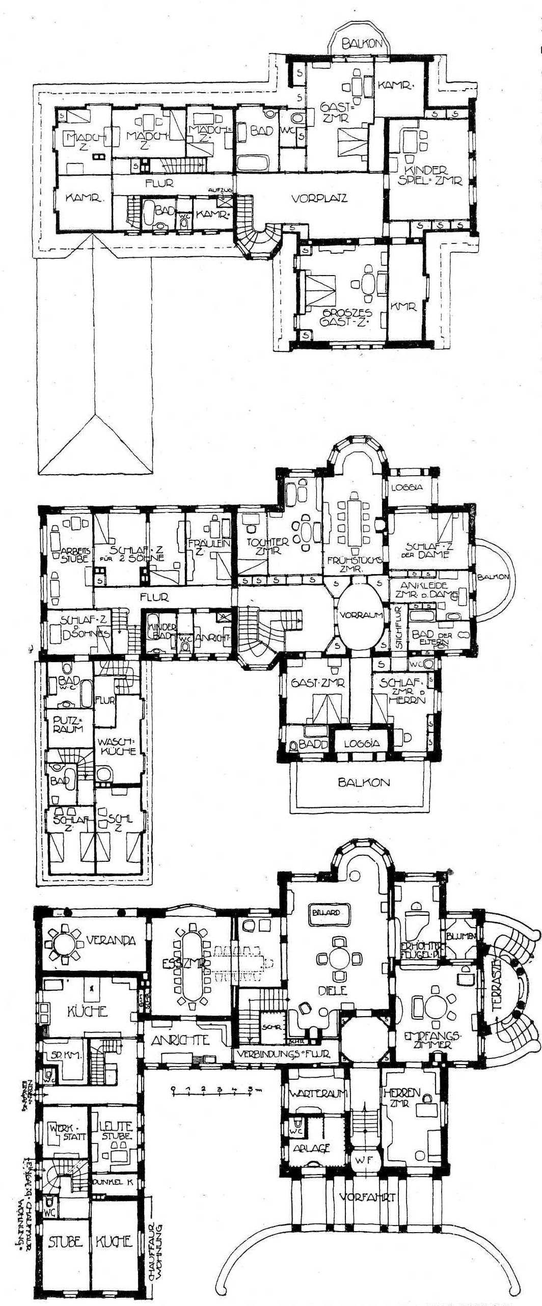 Risultati immagini per villa grundriss 1900 Floor plans
