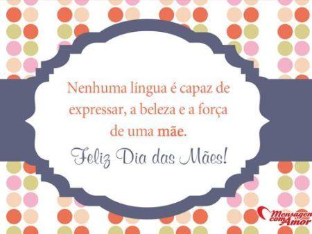Cartão Para O Dia Das Mães Com Frase Bonita Frases 4 Pinterest