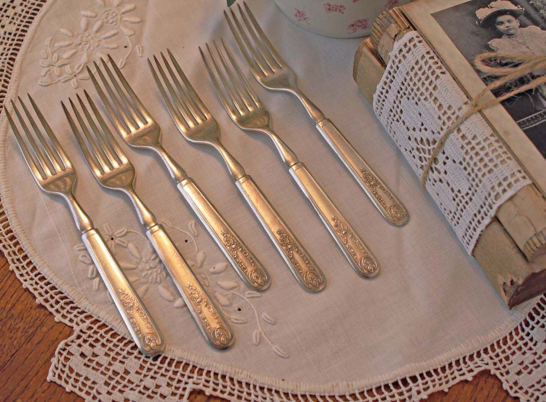 6 Forks Antique Flatware Set 1847 Rogers Bros Meridian