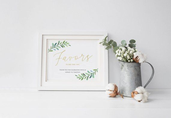 Greenery Wedding Favors Sign, Wedding Signage Printable Template, Wedding Guests Favors Signage Templates, Wedding Signs Decor : IDB016O