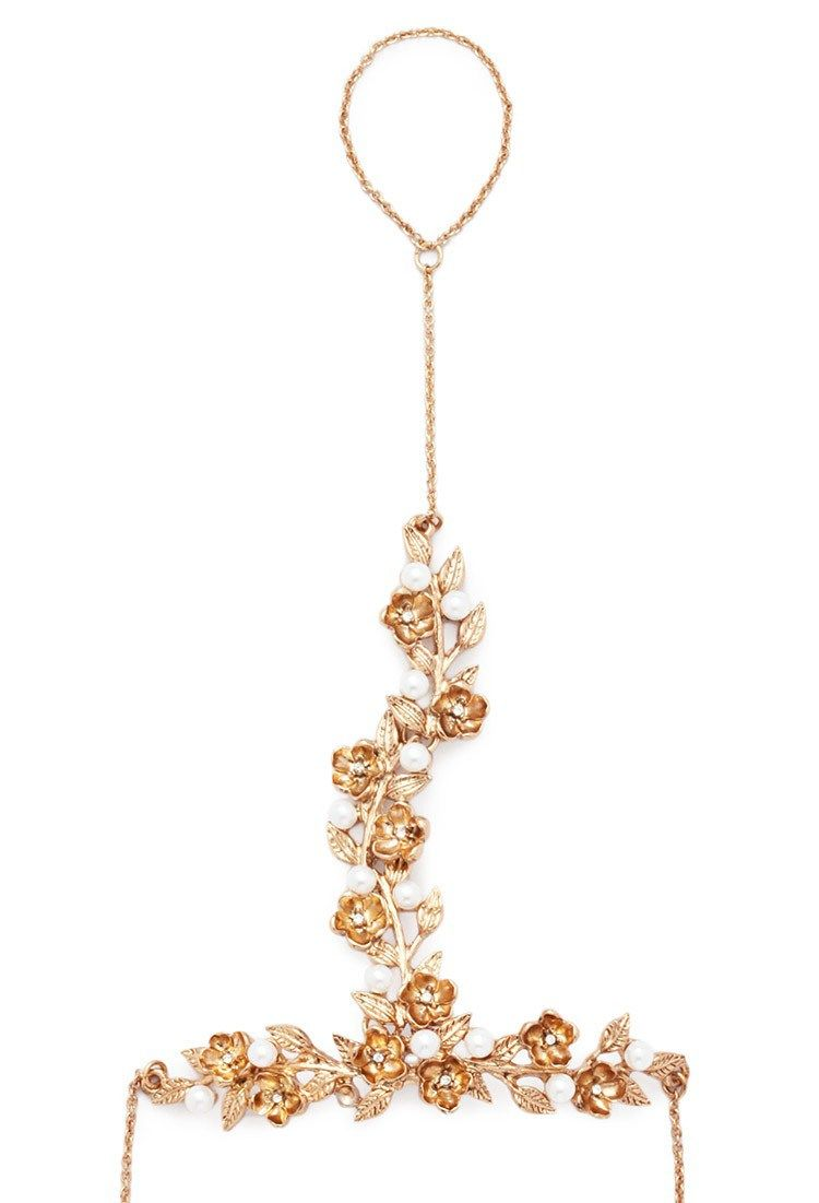Floral Faux Pearl Hand Chain