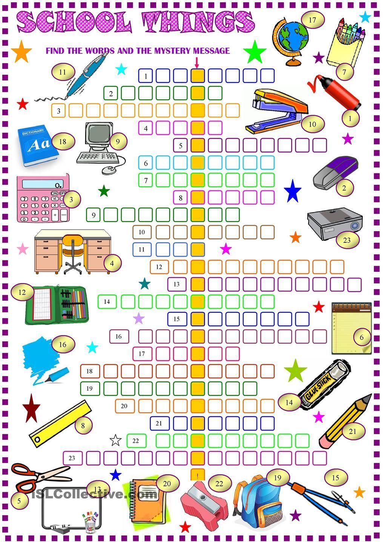 School things crossword puzzle with key ESL printable