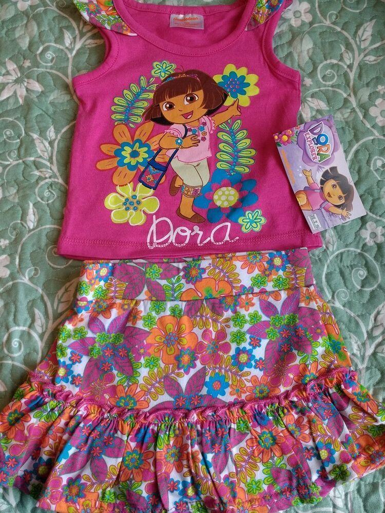 Nickelodeon Girls Dora Two-Piece Printed Short-Sleeve Dress and Legging Set