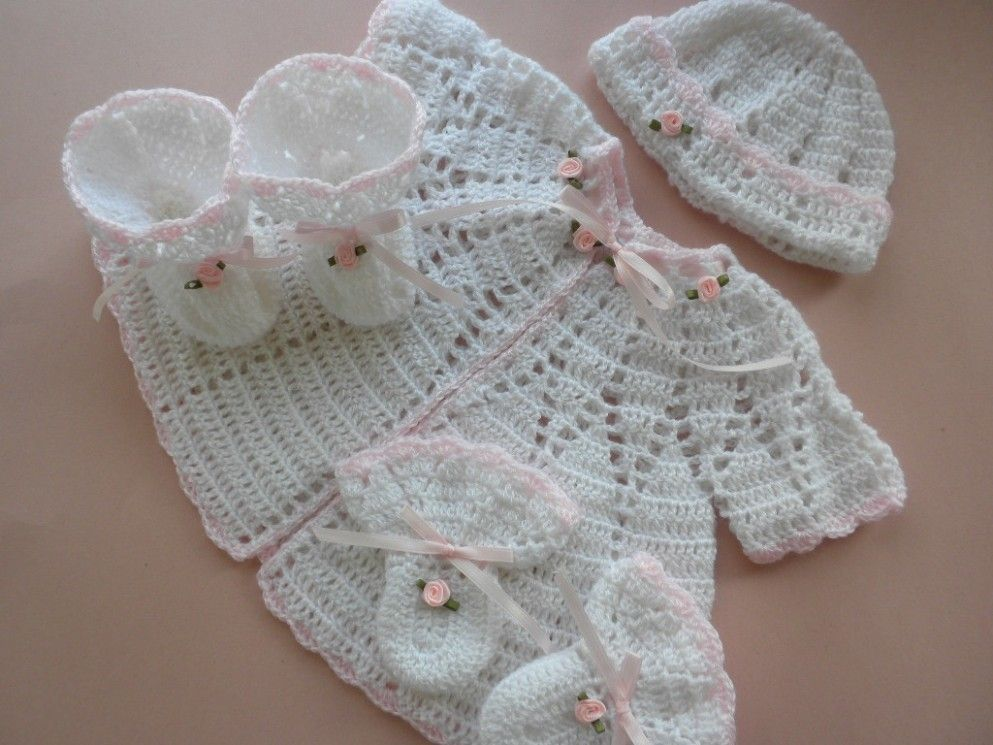 White and Pink Crocheted Baby Sweater, Hat, Booties and Mittens ...