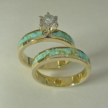Ladies 14 Karat Yellow Gold Wedding Set With Natural Turquoise Inlay Carat Round Diamondbut A Silver Band And Darker Stones