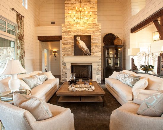 Cozy Living Room With Fireplace cozy living room design with stone fireplace texas southern living