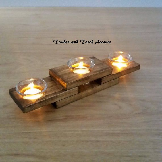 Modern tea light, Wood tea light holder, Wood votive holder, Mantle centerpiece, Coffee table decor, Flameless candle, Reclaimed wood, Gift