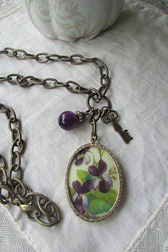 Upcycled Vintage Hand Painted Purple Violets Pendant Necklace | TimelessDesigns - Jewelry on ArtFire