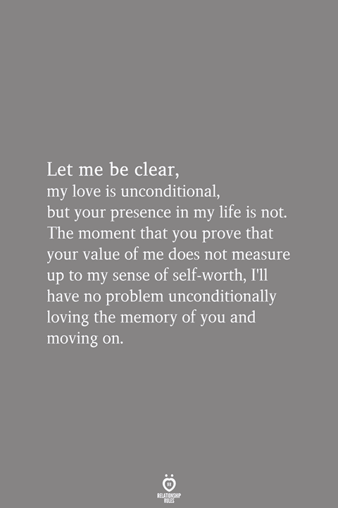Let Me Be Clear, My Love Is Unconditional