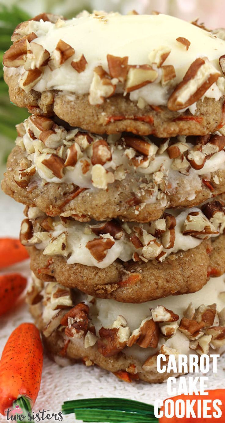 Carrot Cake Cookies with Cream Cheese Frosting -