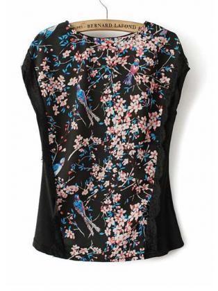 Tiny Flowers Print Cap Sleeve Black T Shirt