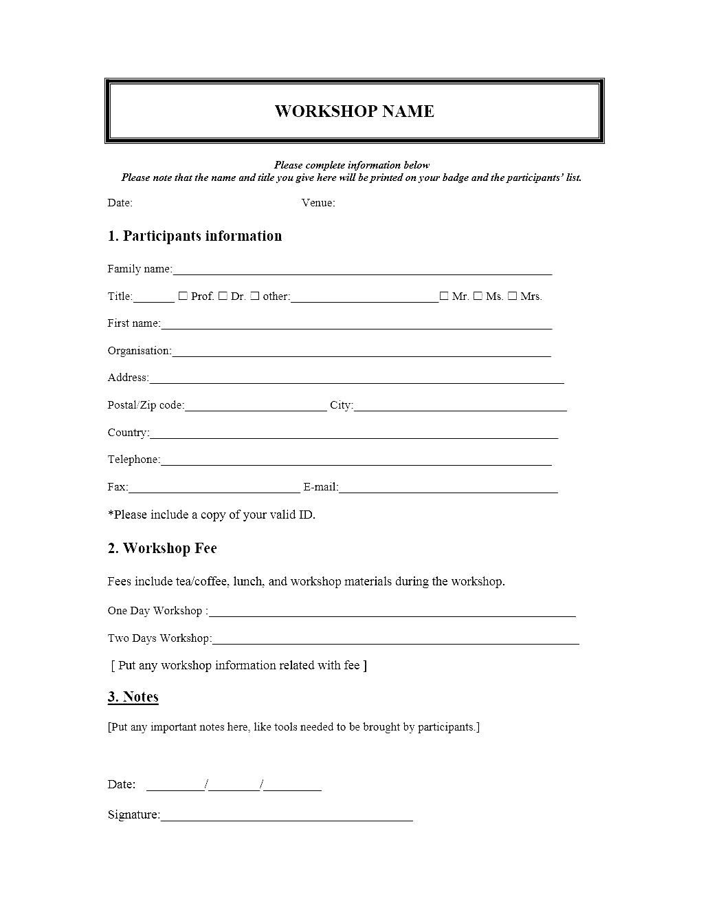 Event registration form template microsoft word for Course enrolment form template