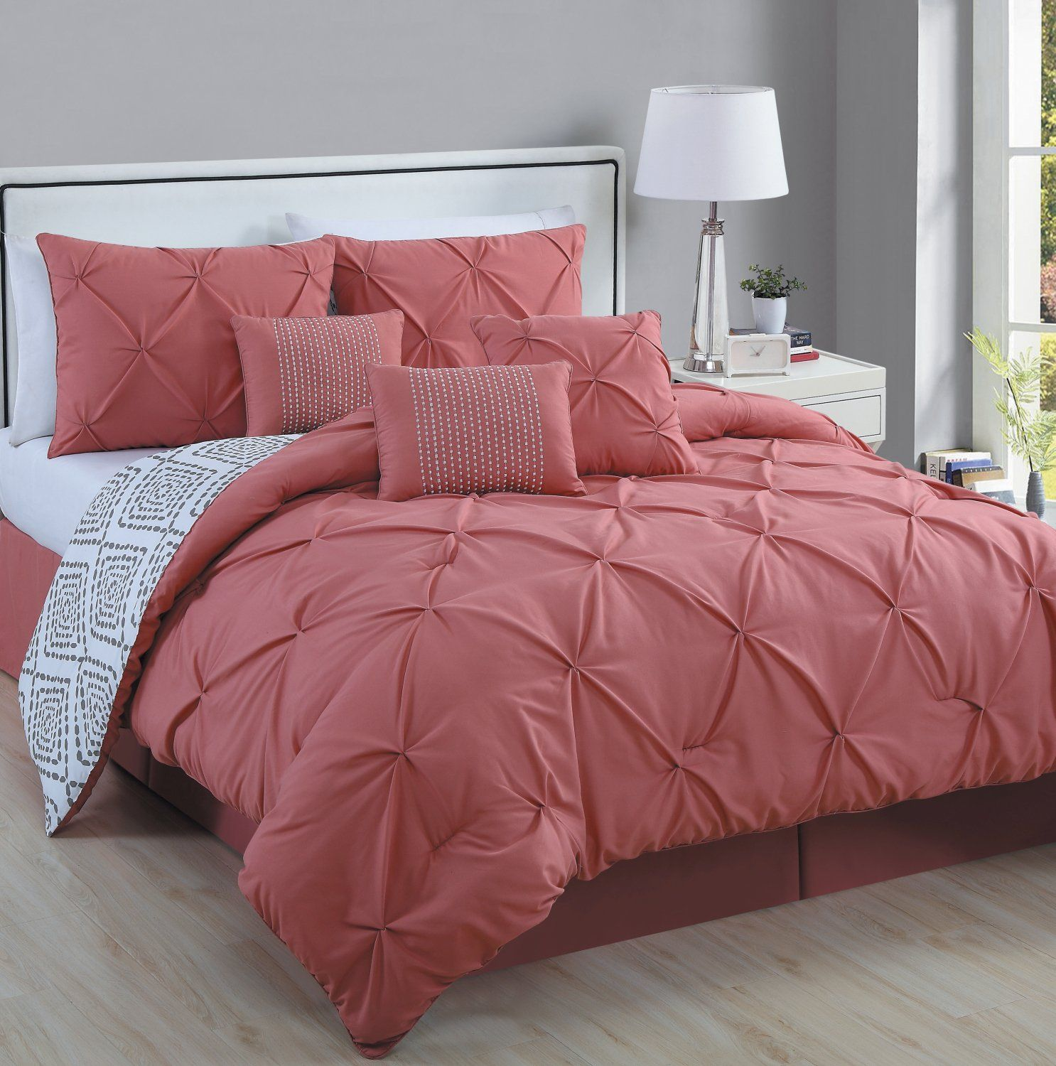 pinch set duke and piece pleat lined home ruffled chic faux pleated comforter