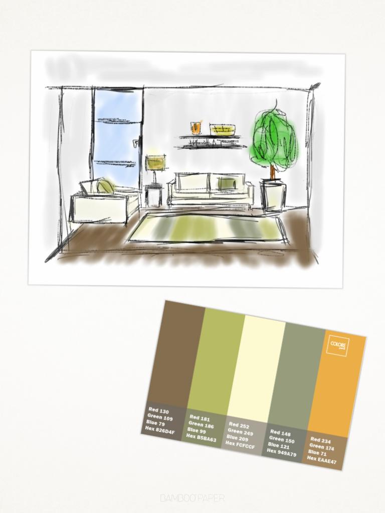 Salotto cucina immagine con disegno e tabella 28 colour matching colori colori pareti for Cucina con salotto