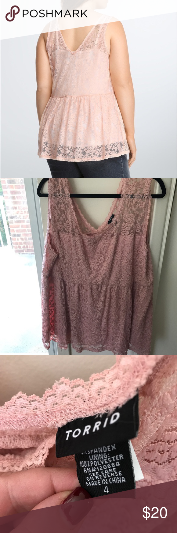 Baby pink plus size dress Torrid pink lace peplum top size X Really soft plus size lace