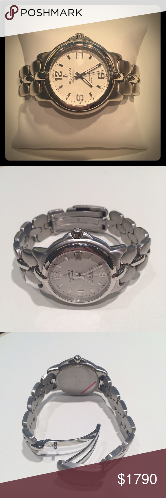 """NWT Bertolucci Stainless Steel Automatic Watch NWT Bertolucci Stainless Steel Automatic Watch.  Case measures approximately 1 1/2""""W.  Chronometer certified.  Date feature.  Easy read dial.  Great everyday watch. Bertolucci Accessories Watches"""