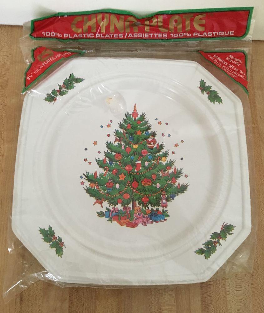 Vintage Ullman Christmas Tree Chyna Reusable Plastic Plates NEW #Ullman & Vintage Ullman Christmas Tree Chyna Reusable Plastic Plates NEW ...