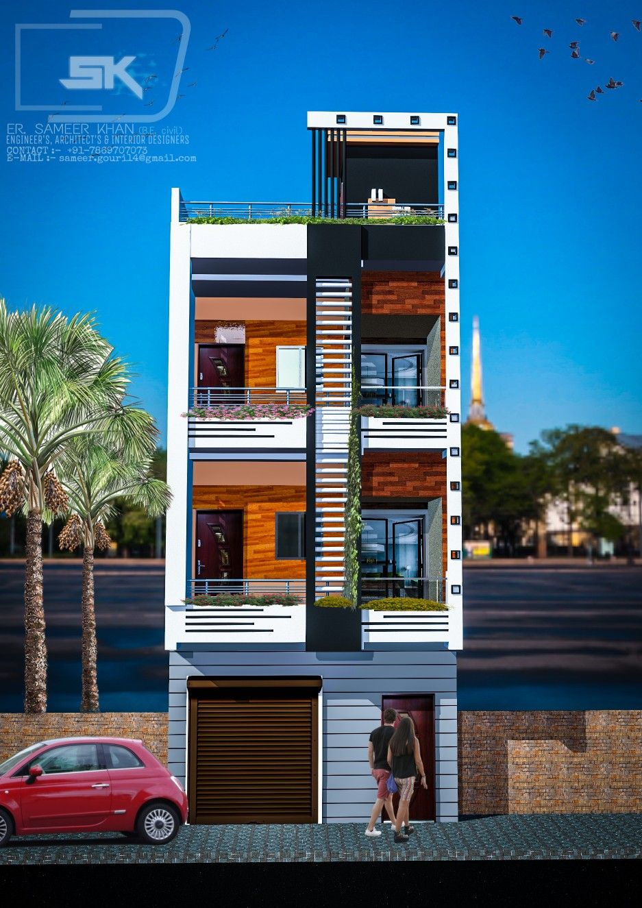 House Front Design Small House Elevation Design Architectural House Plans: Introducing Modern House Exterior Elevations Of G+2 House With Shop By Er. SAMEER KHAN #moder
