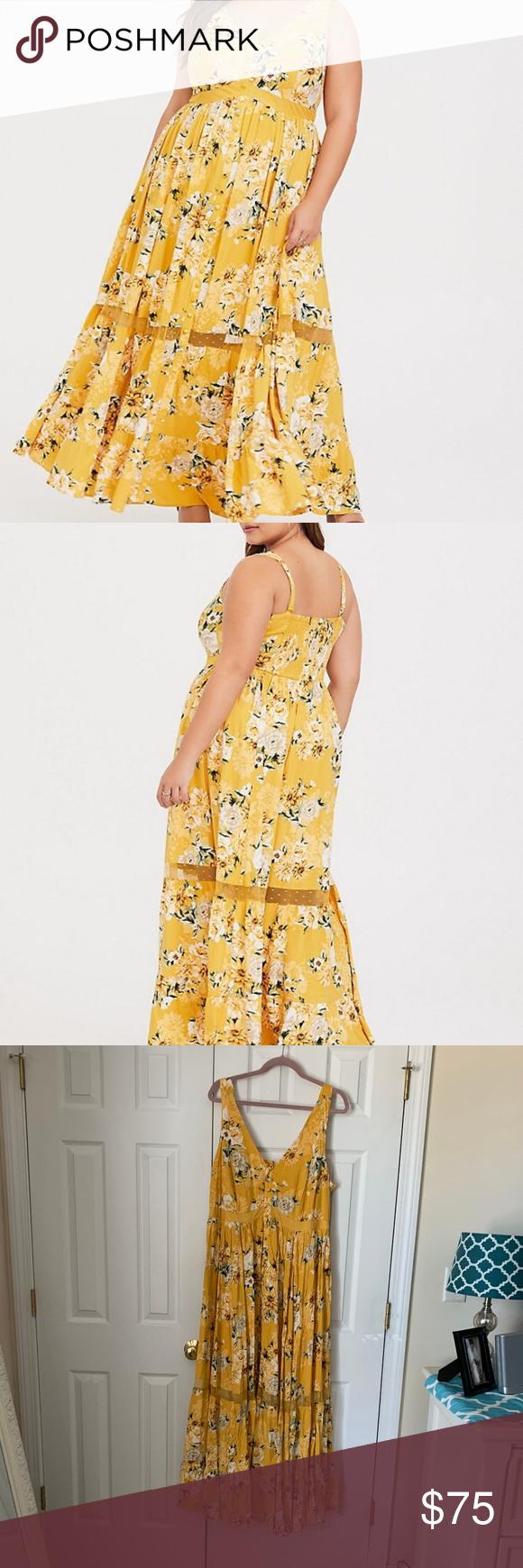 Torrid Yellow Floral Challis Maxi Dress 2 2x Yellow Floral Maxi Dress Floral Maxi Dress Dresses [ 1740 x 580 Pixel ]