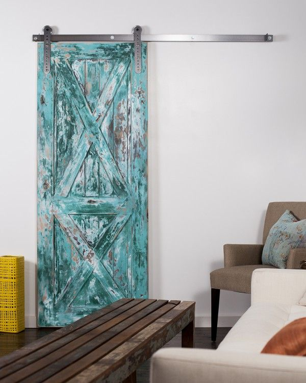Double X Barn Door Painted Aqua With Mk Ii Slyder Wheel In Brushed Stainless Finish Designers Elongated The Barn Door Barn Door Hardware Barn Door Kit