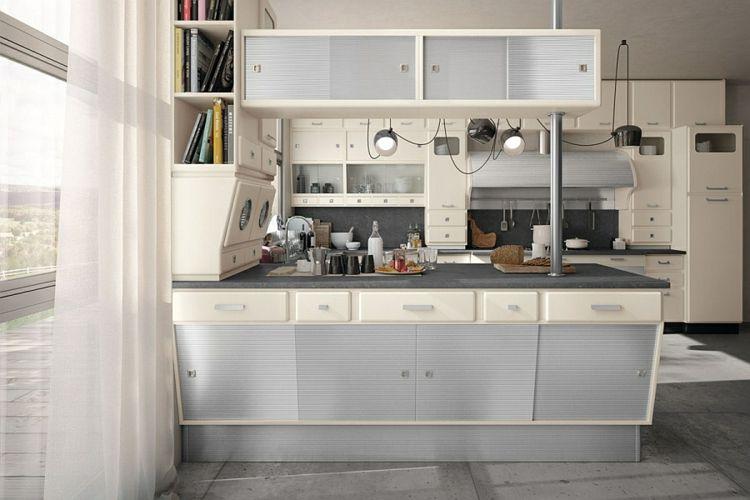 küche gestalten retro stil halbinsel schränke schiebetüren - bodenbelag küche vinyl
