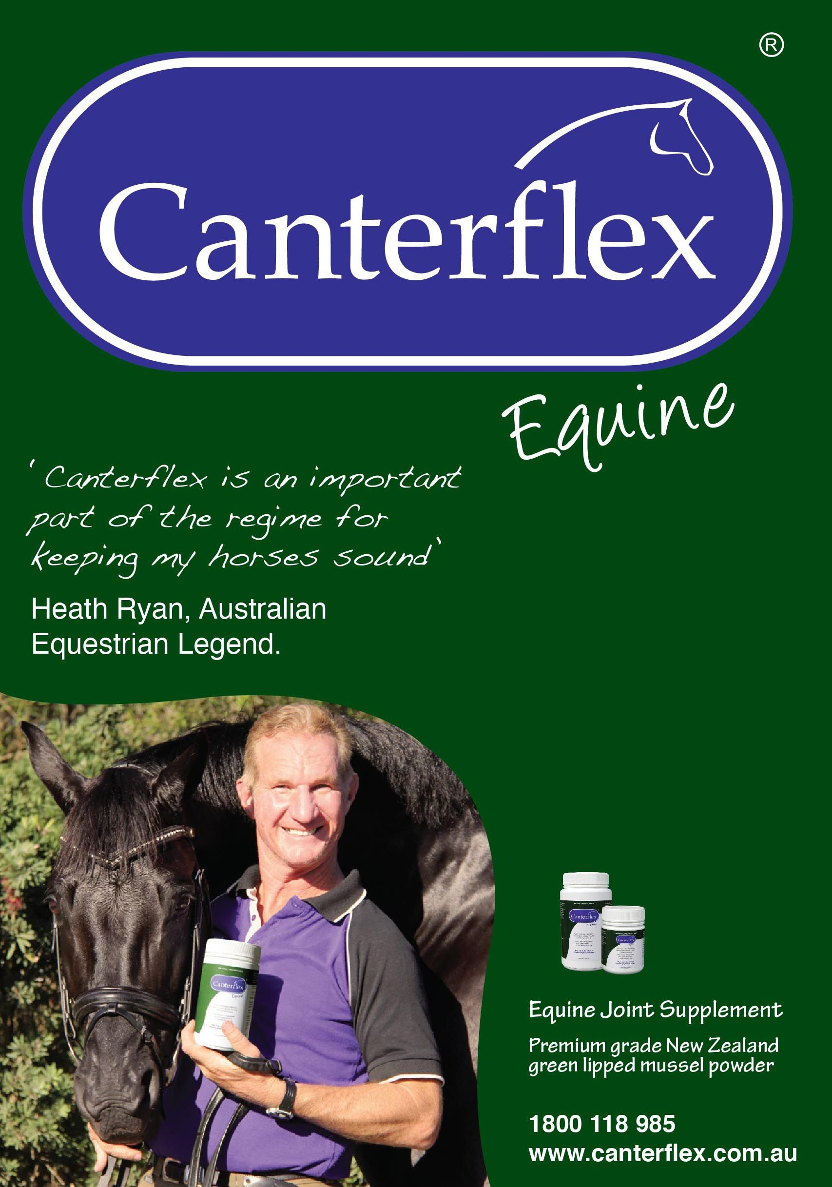 'Canterflex is an important part of the regime for keeping my horses sound' Heath Ryan, Australian Equestrian Legend.