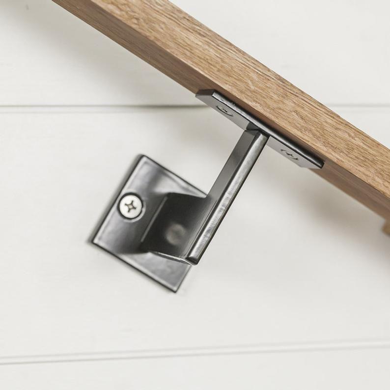 Linear Handrail Bracket 1 4 Steel Plate Bracket Wall Etsy In 2020 Handrail Brackets Step Railing Handrail