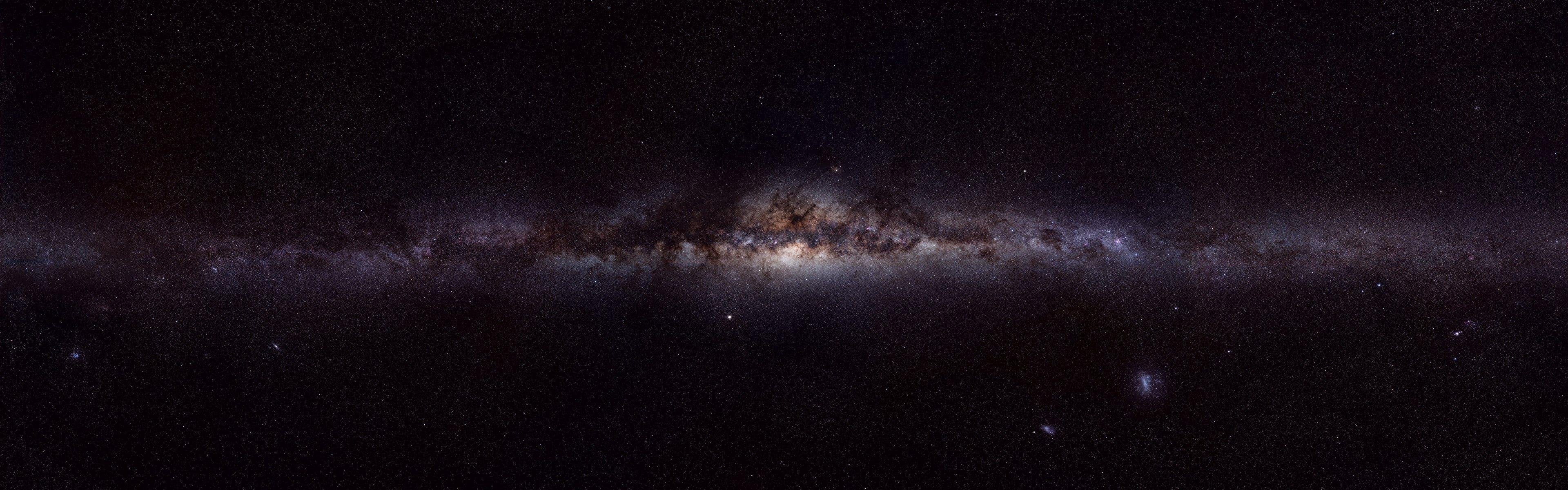 Milky Way space galaxy stars multiple display dual