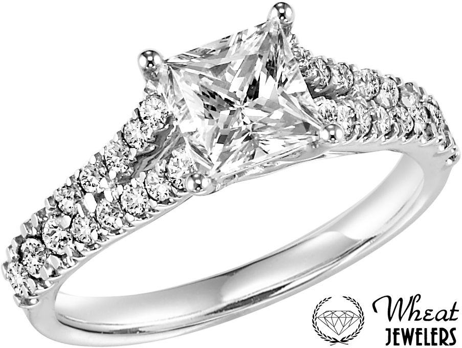Princess cut split shank ring from Wheat Jewelers