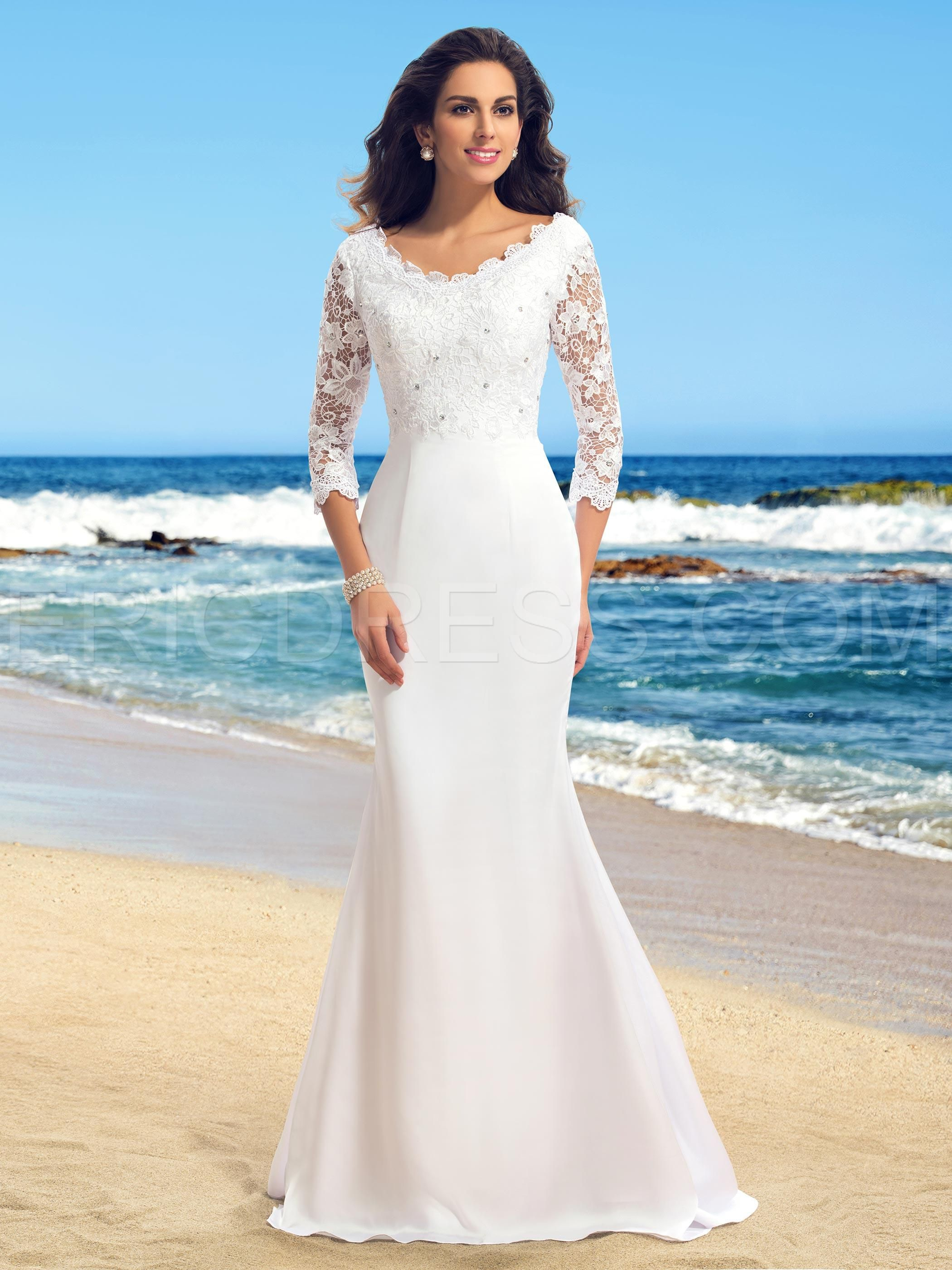 Long sleeve casual wedding dress  VNeck Lace Beading Mermaid Wedding Dress with Sleeves  Pinterest
