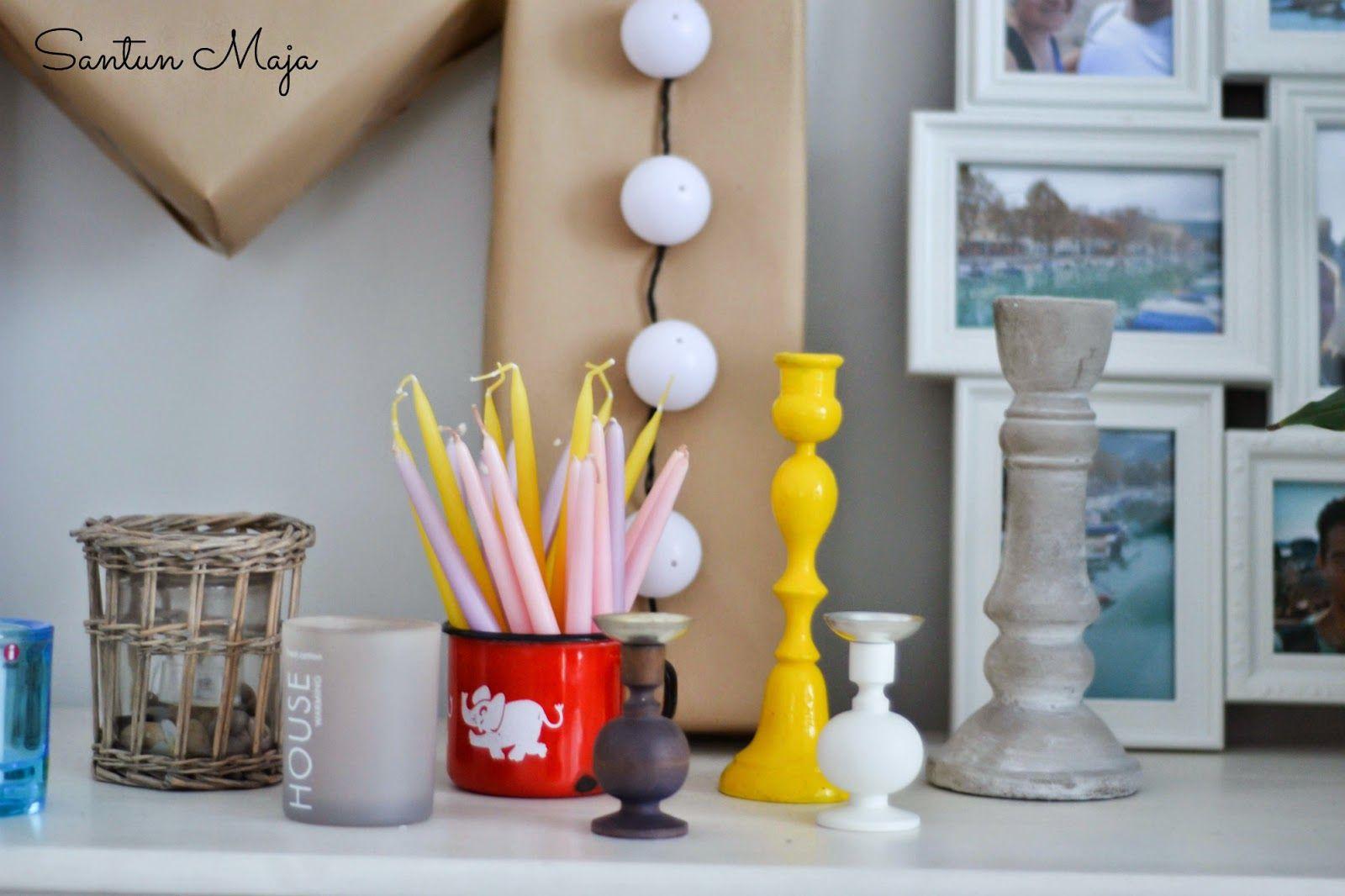 Santun Maja: Fleamarket finds! Aarikka candle holders and retro fabrics for kids <3