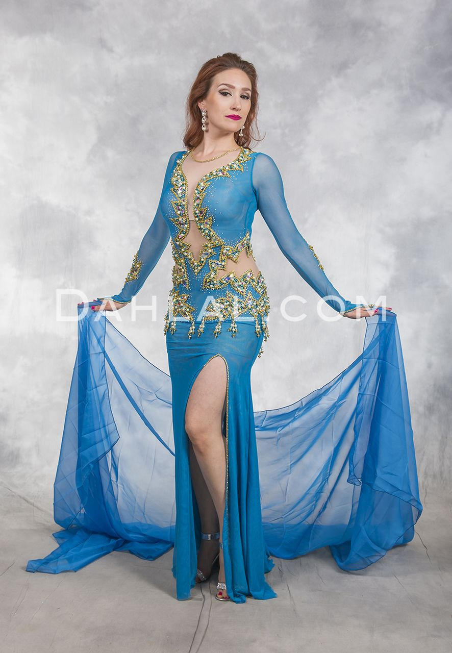28ff940021119 NILE EMPRESS- Turquoise and Gold, Bra Size C #4, by Designer Eman Zaki,  Egyptian Bellydance Dress