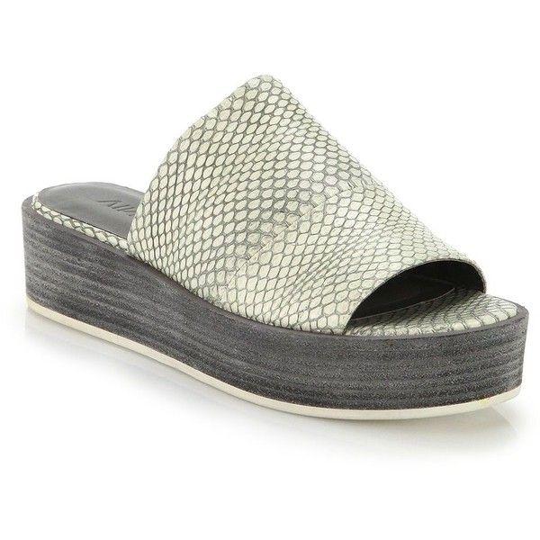 601249b42be Vince Saskia Snake-Embossed Leather Platform Slide Sandals ( 115) ❤ liked  on Polyvore
