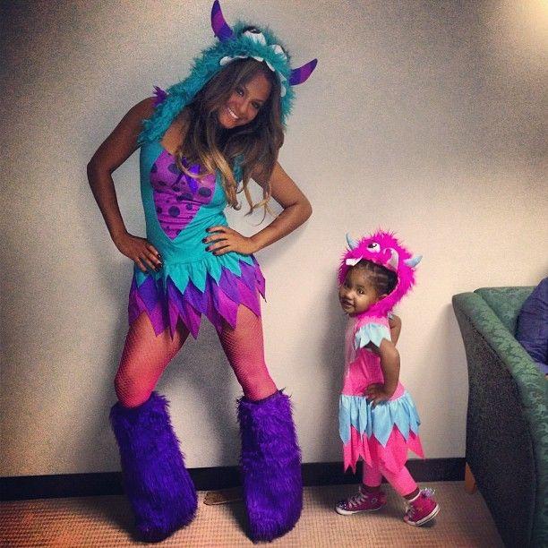some spooky preciousness christina milian daughter violet show off matching swag monster halloween costumes - Monster Inc Halloween Costumes Boo