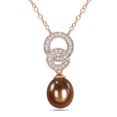 Zales 8.0 - 8.5mm Cultured Freshwater Pearl and Diamond Accent Pendant in Rose Rhodium Sterling Silver bLt8sr